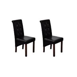 vidaXL Krzesła stołowe, 2 szt., czarne, sztuczna skóra60623