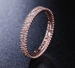 Nowy pierścionek obrączka cyrkonie białe różowe złoto róż złoty prosty modern