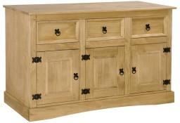 vidaXL Komoda z litego, sosnowego drewna, styl Corona, 132x43x78 cm243742