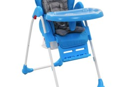 vidaXL Krzesełko do karmienia dzieci, niebiesko-szare10187