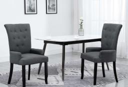 vidaXL Krzesło jadalniane z podłokietnikami, szare, materiałowe 248461