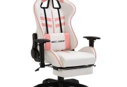 vidaXL Fotel dla gracza z podnóżkiem, różowy, sztuczna skóra20226