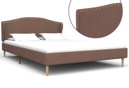 vidaXL Rama łóżka, brązowa, tapicerowana tkaniną, 140 x 200 cm 280654