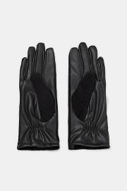 (L) ZARA/ Czarne, skórzano-sztruksowe rękawiczki damskie z Madrytu/NOWE z metką