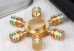 Spinner Tęcza Złoty Sześcioramienny Rainbow w Etui Fidget Hand
