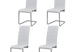 vidaXL Krzesła stołowe, wspornikowe, 4 szt., białe, sztuczna skóra242288