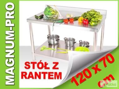 Stół gastronomiczny, roboczy, stalowy 120x70x85 z rantem-1