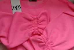 (36/S) ZARA/Różowa, neonowa bluzka, bluza z Madrytu/ NOWA