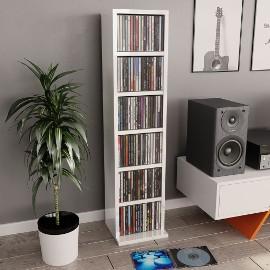 vidaXL Szafka na CD, wysoki połysk, biała, 21x20x88 cm, płyta wiórowa 800357