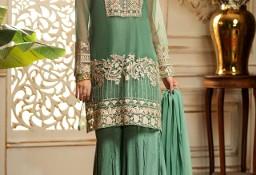 Nowy strój indyjski komplet M 38 zielony złoty tunika spodnie kameez gharara
