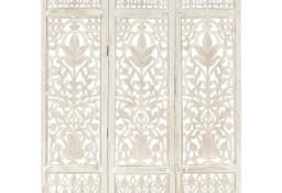 vidaXL Parawan 3-panelowy, rzeźbiony, biały, 120x165 cm, drewno mango 285330