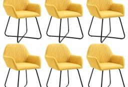 vidaXL Krzesła do jadalni, 6 szt., żółte, tapicerowane tkaniną277109