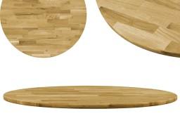 vidaXL Okrągły blat do stolika z litego drewna dębowego, 23 mm, 700 mm 245984