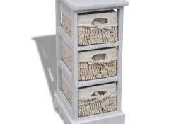 vidaXL Szafka drewniana z 3 wyplatanymi koszykami, biała240796