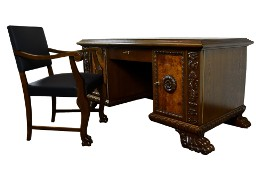 Neorenesansowy komplet biurko i fotel. Stare zabytkowe antyk
