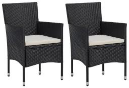 vidaXL Krzesła ogrodowe, 2 szt., polirattan, czarne 46179