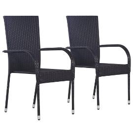 vidaXL Sztaplowane krzesła ogrodowe, 2 szt., polirattan, czarne44238
