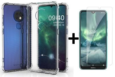 Żelowe bezbarwne etui Anti Shock + szkło hartowane do Nokia 6.2 / 7.2