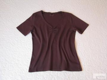 Brązowa koszulka, bluzka z krótkim rękawem, T-shirt, rozm. 42 / L