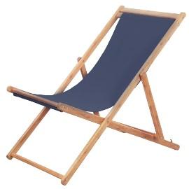 vidaXL Składany leżak plażowy, tkanina i drewniana rama, niebieski 44000