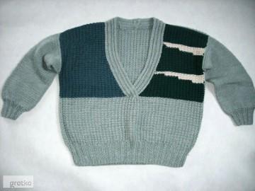 Gruby Sweter Oversize Robiony na Drutach 40 42 L XL