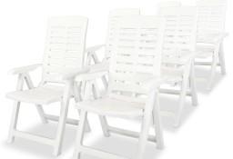 vidaXL Rozkładane krzesła ogrodowe, 6 szt., plastikowe, białe275068
