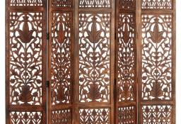 vidaXL Parawan 5-panelowy, rzeźbiony, brąz, 200x165 cm, drewno mango285335