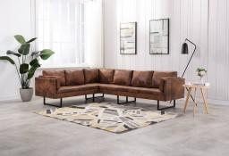 vidaXL Sofa narożna, tapicerowana sztuczną skórą zamszową, brązowa 288172