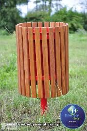 Kosz na śmieci duży drewniany plac zabaw