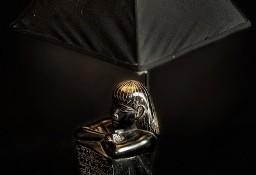 "Lampa stolikowa kamienna ""Egipcjanin"", czarny abażur"