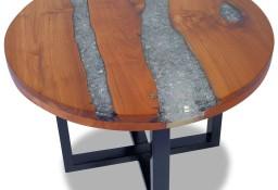 vidaXL Stolik kawowy z drewna tekowego i żywicy, okrągły, 60 cm243466