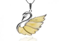 Biżuteria srebrna z żółtym naturalnym bursztynem ŁABĘDŹ