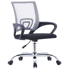 vidaXL Krzesło biurowe z siatkowym oparciem, szare, tkanina 20184
