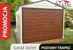 Garaż, blaszak 3x5 , pozioma blacha w kolorze, dach dwuspadowy, brama uchylna