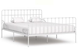 vidaXL Rama łóżka ze stelażem z listw, biała, metalowa, 180 x 200 cm 284606