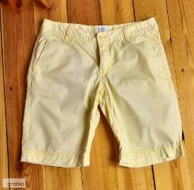 Spodnie spodenki szorty H&M 38 M żółte bawełniane bawełna krótkie kies