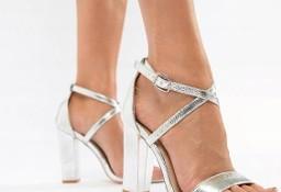 (40) Ekskluzywne, srebrne, metaliczne sandałki ślubne z Londynu/ NOWE