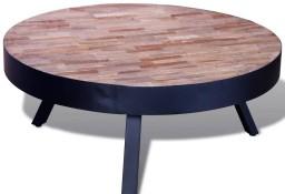 vidaXL Okrągły stolik kawowy z odzyskanego drewna tekowego241714