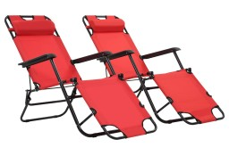 vidaXL Składane leżaki z podnóżkiem, 2 szt., stalowe, czerwone 44344