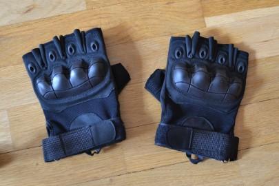 Rękawice taktyczne wojskowe militarne czarne (black) bezpalcowe