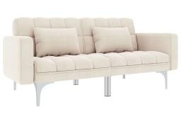 vidaXL Sofa rozkładana, kremowa, tapicerowana tkaniną247216