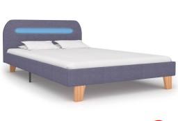 vidaXL Rama łóżka z LED, jasnoszara, tapicerowana tkaniną, 120x200 cm 280897
