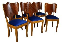 6 sztuk krzeseł, krzesła art deco lata 50, lata 60, stare, po renow.