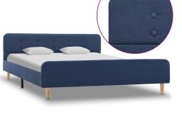 vidaXL Rama łóżka, niebieska, tapicerowana tkaniną, 140 x 200 cm 284909