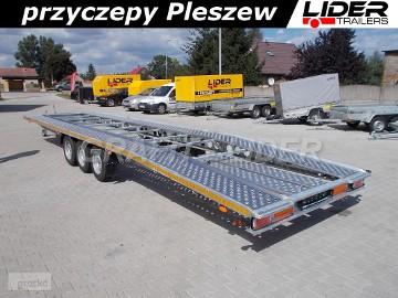 LT-015 przyczepa ciężarowa, laweta aluminiowa 3 osiowa, do 2 pojazdów, najazdy aluminiowe, 850x210cm DMC 3500kg