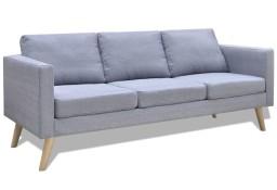 vidaXL Sofa 3-osobowa, materiałowa, jasnoszara242219