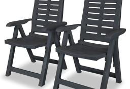 vidaXL Rozkładane krzesła ogrodowe, 2 szt., plastikowe, antracytowe43897