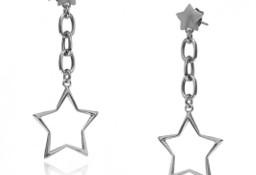 Srebrne kolczyki wiszące gwiazdki