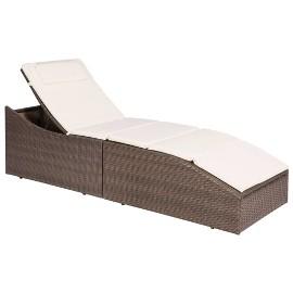 vidaXL Leżak ogrodowy z poduszką, rattan PE, brązowy 44135