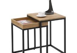 Zestaw 2 stolików kawowych, stolik 2w1. Styl industrialny, loft. Jasne blaty.